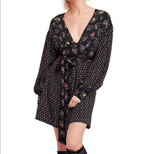 Free People Wonderland Print Black Mini Dress